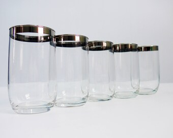 Set of 5 Vintage Silver Rimmed Dorothy Thorpe Style Small Tumblers - Retro Mid Century Mad Men Glasses - 5 Silver Rim Drinkware Barware