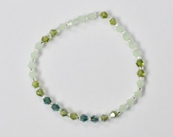 Swarovski Stretch Bracelet, Sparkly Jewelry, Green Stackable Bracelet, Arm Candy, Boho Beaded Bracelet, Bridesmaid Gift, Gift for Her