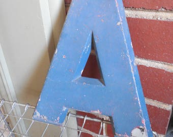 """Industrial 8"""" Metal Theater Marquee Letter A - Vintage Cast Aluminum Adler Sign"""