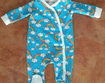 0-3m Rainbow swirls footed coverall