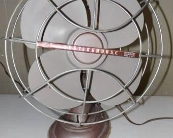 Vintage Westinghouse Electric Oscillating Fan USA Lt. Lavendar/Gray Metal