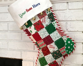 Red & Green Quilted Christmas Stocking, Cottton Patchwork, Free Personalization, Large, Fully Lined,  Flannel Cuff and Jingle Bells