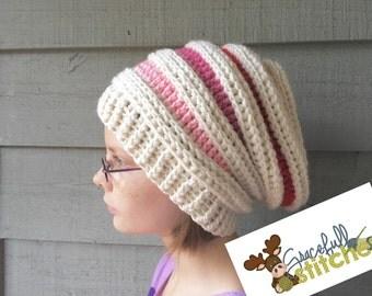 Striped Slouchy Hat *** slouchy hat*** winter hat *** Valentine's Day hat
