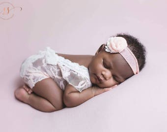 Newborn girl lace romper set, newborn girl pink mocha ivory lace photo outfit baby girl open back romper newborn photography lace romper