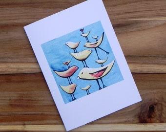 Happy birds on aqua, Eight blank notecards and envelopes