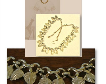 Vintage Necklace, Mid-Century Jewelry, Fans, Poplar Leaves, Gold Tone, Plated, Choker, Adjustable, Vintage Costume Jewelry, Links, 50s, 60s