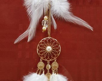 DREAM CATCHERS for your CAR! White or Brown feathers to accent your rear view mirror and show your style!  Unique gift. Beautiful.