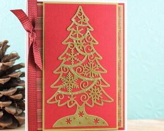 Handmade Christmas Card, Christmas Greeting Card, Unique Christmas Card, Elegant Holiday Card, Red and Green Card, Christmas Tree Card