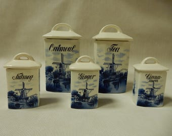 Grete Blue Transferware Porcelain Canister Set from Germany