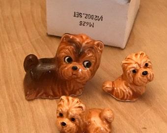 Vintage 1960's bone china cute shaggy dog (yorkie style) 3 pcs.