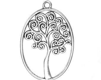 """5 TREE Of LIFE Pendants - Charms - Oval -Antique Silver Tone - Hollow  40 x 27 mm - 1 5/8"""" x 1 1/8"""""""