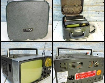 Sony Micro TV Portable Television Vintage Electronics Mini TV in Carrying Case 1960s Small TV Model 5-303W Made In Japan Train Case Tv