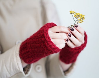 Extra Thick Wool Fingerless Mittens In Burgundy Red or Gray, Winter Crochet Gloves For Women