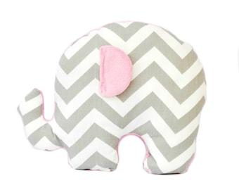 One grey zig zag elephant nursery pillow cover, stuffed animal ,decorative throw pillow, decorative pillow, nursery decoration