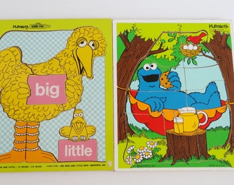 Playskool Wooden Puzzles Sesame Street Muppets Lot of 2
