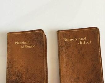 William Shakespeare Leather Bound Miniature Book x 2
