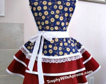 Apron number 4026 - Nautical print over burgundy layered retro hostess apron