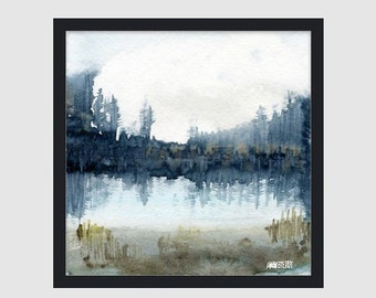 Woodland watercolor painting. Lake and forest art print from original painting by Annemette Klit. Watercolour landscape painting.