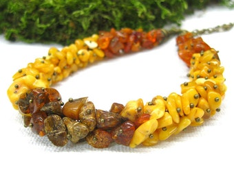 Womens gift for her Boho jewelry Natural Amber necklace multi color block Baltic Amber cluster necklace one size fits all brass chain choker