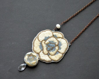 Bead Embroider Necklace Winter Roses