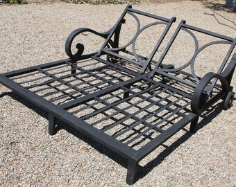 Black Iron Double Chaise Lounge Chair Patio Bed Pool Side Outdoor Lounger Insured safe Nation Wide Shipping Available