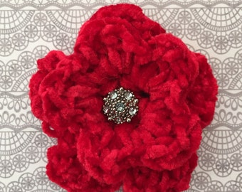 Red lapel pin flower crochet flower lapel pin gifts for mom crochet flower brooch pin boutonniere red suit lapel pin crochet hat pin