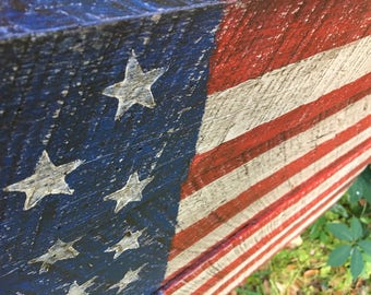 Salvaged barn wood American flag #802, 37x21 distressed folk art flag