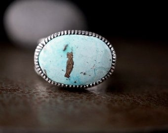 Rustic Turquoise Ring , Size 8 , Natural Kingman Turquoise , Asymmetrical Sterling Ring , Rustic Jewelry