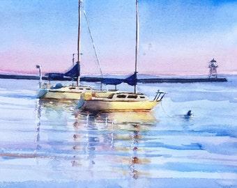 Grand Marais boats North Shore small watercolor original Lake Superior Minnesota