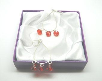 Red Crystal Chandelier Style Earrings