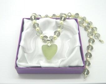 Sea Glass Green Heart Pendant Preciosa Pearl Handmade Necklace