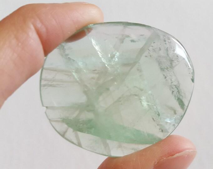 Large Rainbow Fluorite Palm Stone, Chakra Stone, Worry Stone, Fidget Stone ~ 1 Reiki infused polished flat stone approx 1.7x1.5 inch (FLW57)