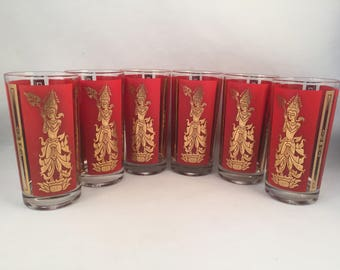 Set of 6 Vintage Siam Dancer Red and Gold Glass Tumblers, Buddha Style Glasses, Gold Glasses, Asian, Buddha Glassware, 12 oz.