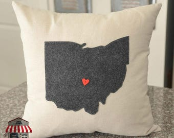 Ohio Pillow Cover - 18 x 18 - Charcoal Gray - Home decor - Throw pillows - Accent pillows -  decorative pillow - state pillow - home state