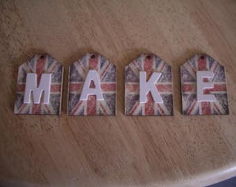 Union jack  Bunting letter tags