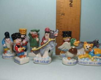 PETER & The WOLF Sergei Prokofiev Russian Childrens Story 10 pc set- French Feve Feves Figurines Doll House Miniatures A38