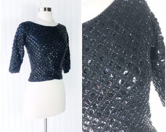 heavy black sequin beaded cocktail blouse top / wool knit sweater / vtg 60s pinup burlesque / elbow length sleeves / rayon lining