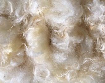 Natural Romney Fleece- Washed- White/Cream color- 8 oz-High luster