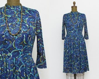 60s Blue Paisley Dress - Vintage 1960s Blue Fit and Flare Dress