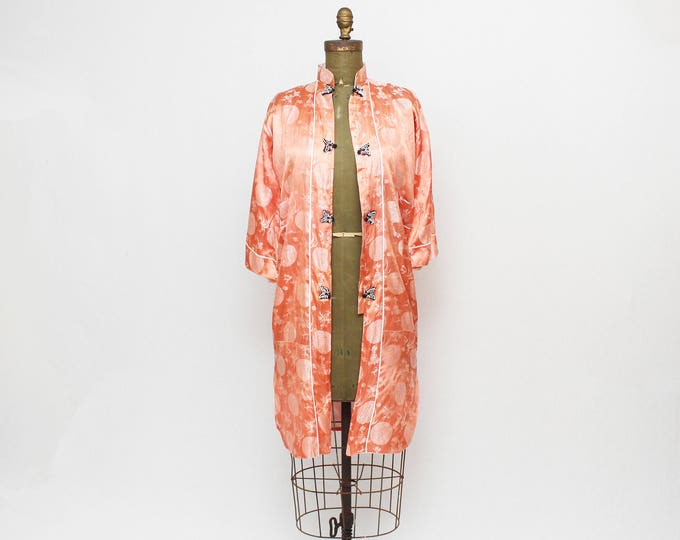 1940s Silk Robe - Vintage 40s WW2 Japanese Silk Dressing Gown