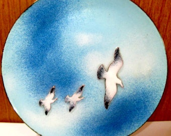 Vintage Copper Enamel Artsy Blue Sky and Three Flying Seagull Birds Signed Chrys 80