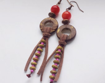 Long beaded bohemian earrings, Orange agate earrings