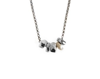 Gold and Silver nugget necklace on sterling silver chain, faceted necklace, freeform necklace, pebble necklace