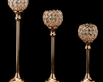 Gold Crystal Ball Candle Holders (3)