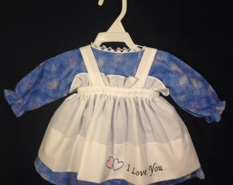 Dress and Apron for 25 inch Raggedy Ann Doll; blue dress with pastel splashes of color, embroidered Apron