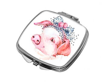Compact Mirror with a pretty pig for handbag or pocket. Gift for lovers of farm animals and pigs. M36