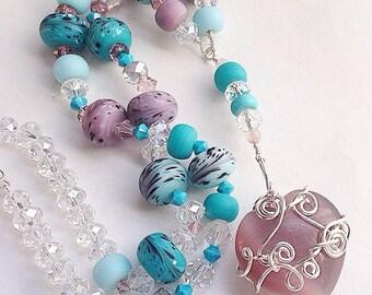 Blush Handmade Y Necklace Gemstone Heart