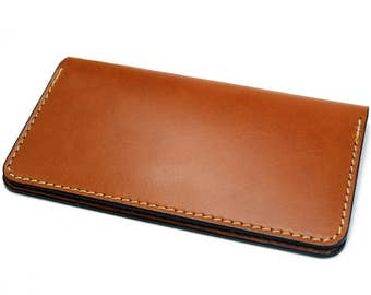 Personalized leather checkbook cover, check book cover, tan or brown bridle leather