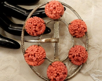 Beautiful Vintage Carved Coral Glass Floral Belt Buckle