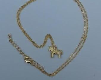 Matte gold plated Swedish dala horse charm pendant necklace